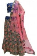 DCC20024 Gorgeous  Navy Blue and Pink Party Wear Lengha (Semi- Stitched)