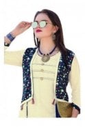KUR19027 Exquisite Beige and Blue Exquisite Designer Kurti Tunic Dress with Printed Waistcoat