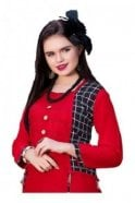 KUR19031 Exquisite Red and Black Exquisite Designer Kurti Tunic Dress with Printed Waistcoat