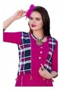 KUR19032 Stunning Pink and Blue Stunning Designer Kurti Tunic Dress with Printed Waistcoat