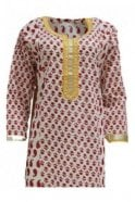 KUR19072 Gorgeous  Cream and Red Gorgeous  Designer Kurti Tunic Top Dress