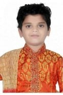 BYK20009 Fiery Orange and Ivory 3 Piece Boy's Kurta Pyjama with matching Scarf