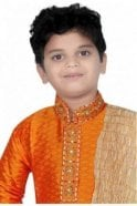 BYK20011 Orange and Ivory 3 Piece Boy's Kurta Pyjama with matching Scarf