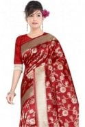 Krishna Sarees FAS20004 Maroon and Gold Banarasi Silk Party Saree