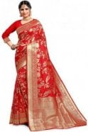 Krishna Sarees FAS20019 Red  and Gold Banarasi Silk Party Saree