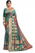 Krishna Sarees FAS20103 Green and Gold Banarasi Silk Party Saree