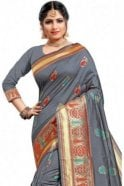 Krishna Sarees FAS20133 Grey and Gold Banarasi Silk Party Saree