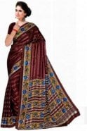 Krishna Sarees PPS20030 Coffee Brown and Blue Floral Printed Chiffon Geogette & Satin Silk Saree