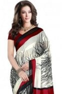 Krishna Sarees PPS20039 Cream and Red Floral Printed Chiffon Geogette & Satin Silk Saree