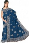 DSS20565 Blue and Sliver  Faux Chiffon Geogette Saree