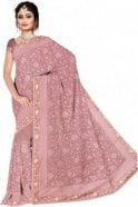 Contemporary Pink and Sliver Embroidered Saree with Unstitched Designer Blouse