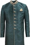 MTS20319 Green and Gold Raw Silk Men's Sherwani Suit