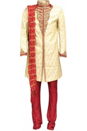 MTS18007 Gold and Maroon Men's Sherwani Suit