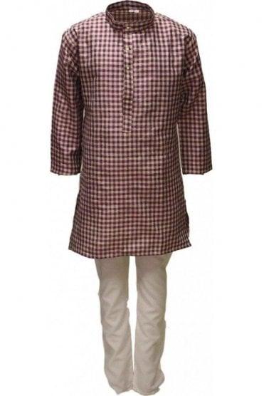 BYK18018BYK2534 Magenta and Beige Boy's Kurta Pyjama