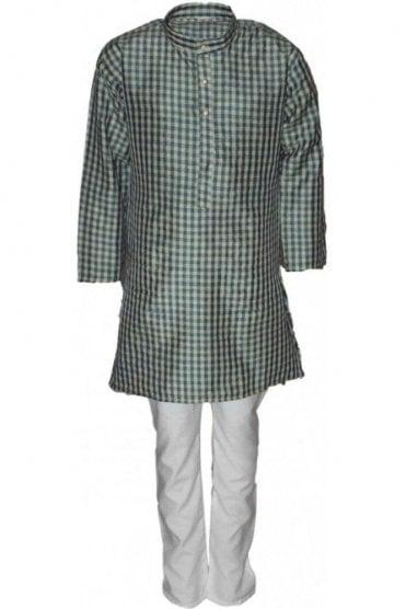 BYK18021BYK2537 Turquoise and Beige Boy's Kurta Pyjama
