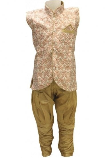 BYK18033BYK2561 Rust and Gold Boy's Dhoti Pyjama