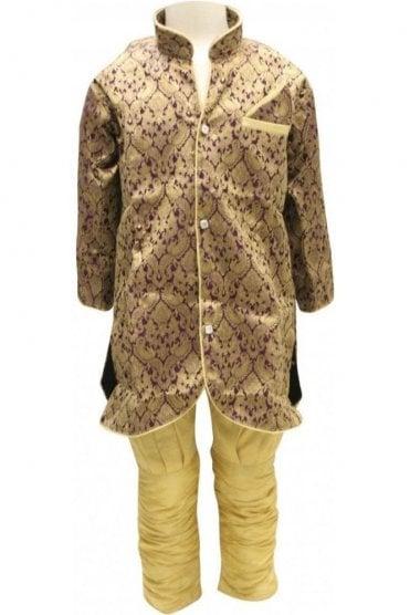 BYK18040BYK2570 Purple and Gold Boy's Dhoti Pyjama