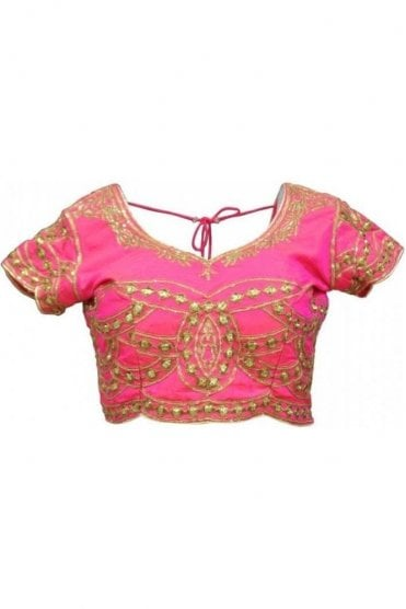 RMB19002 Pink & Gold Ready Made Designer Saree Blouse