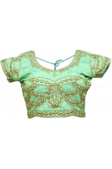RMB19003 Mint Green & Gold Ready Made Designer Saree Blouse