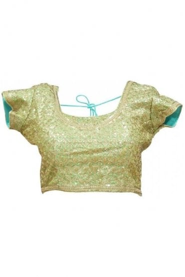 RMB19019 Mint Green & Gold Ready Made Designer Saree Blouse