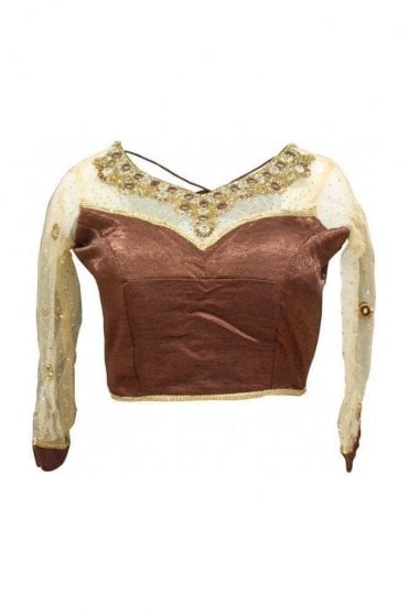 RMB19023 Brown & Gold Ready Made Designer Saree Blouse