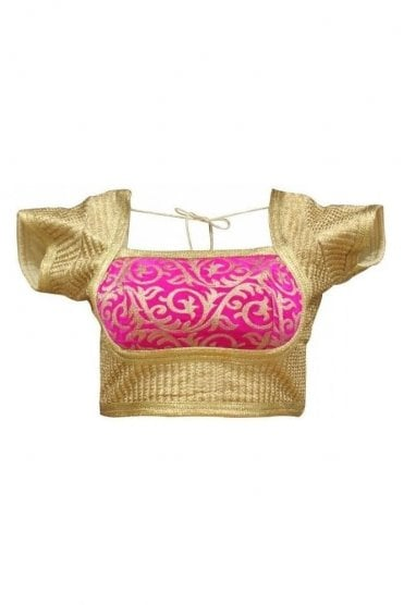 RMB19031 Gold & Hot Pink Ready Made Designer Saree Blouse