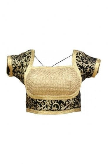 RMB19032 Black & Gold Ready Made Designer Saree Blouse