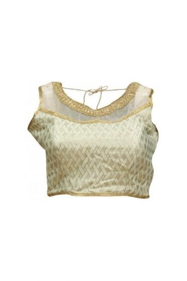 RMB19082 Ivory & Gold Ready Made Designer Saree Blouse