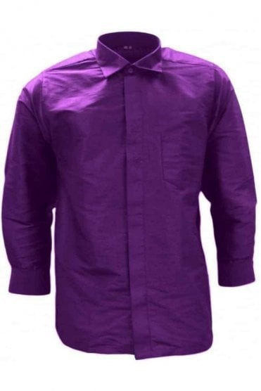 MPS19002 Purple Men's Pattu Shirt, Poly Silk Shirt