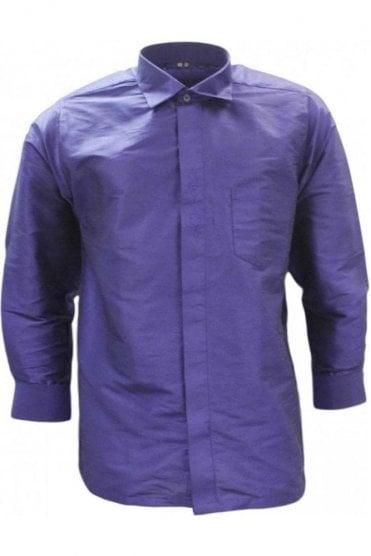 MPS19004 Indigo Men's Pattu Shirt, Poly Silk Shirt