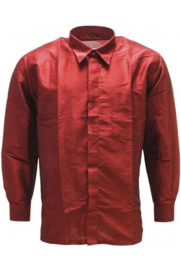 MPS19006 Maroon Men's Pattu Shirt, Poly Silk Shirt