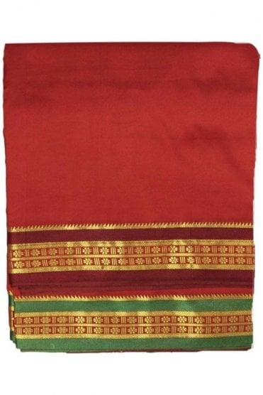 VST2009 Maroon Men's Traditional Veshti / Dhoti / Vasti with Angavastram