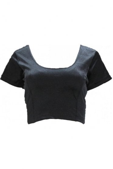 RVB19001 Black Ready Made Stretchable Velvet Blouse