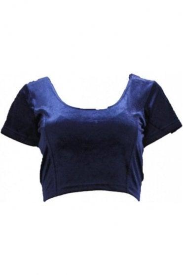 RVB19002 Navy Blue Ready Made Stretchable Velvet Blouse