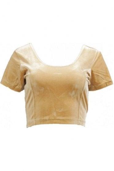 RVB19003 Golden Ready Made Stretchable Velvet Blouse