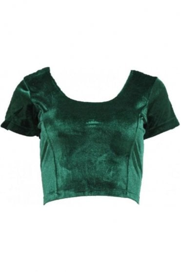 RVB19006 Green Ready Made Stretchable Velvet Blouse