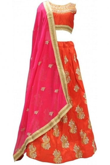 DLC19031 Gorgeous  Orange Red and Pink Designer Lengha