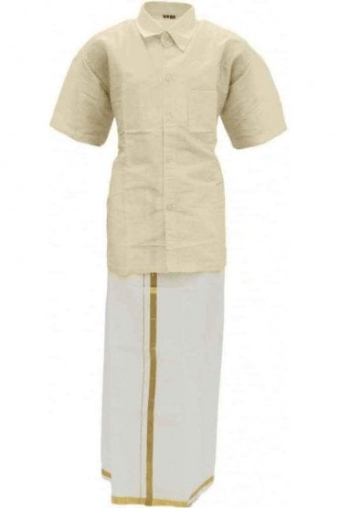 BVS2003 Light Cream and Gold Boys Veshti Sattai