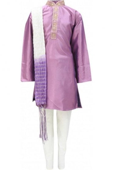 BYK19001 Lavander and Cream 3 Piece Boy's Kurta Pyjama