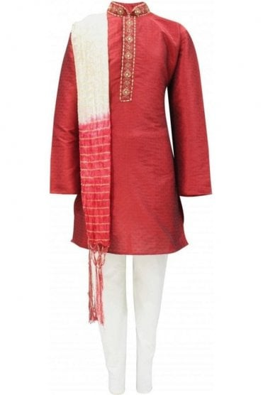 BYK19003 Maroon and Cream 3 Piece Boy's Kurta Pyjama