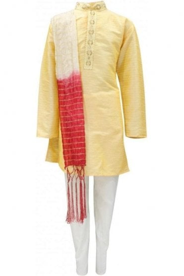 BYK19007 Yellow Gold and Cream 3 Piece Boy's Kurta Pyjama