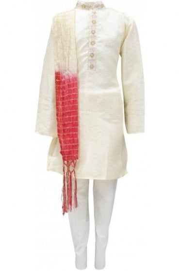BYK19011 Cream and Cream 3 Piece Boy's Kurta Pyjama