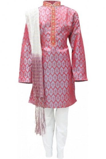BYK19015 Red and White 3 Piece Boy's Kurta Pyjama
