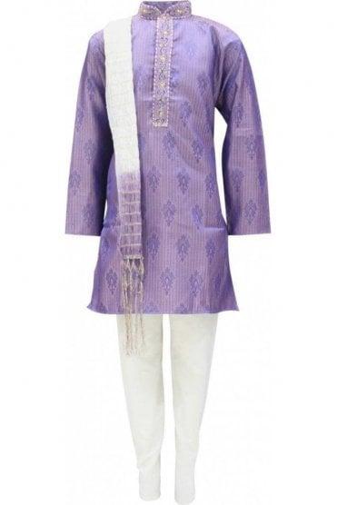 BYK19016 Purple and Cream 3 Piece Boy's Kurta Pyjama
