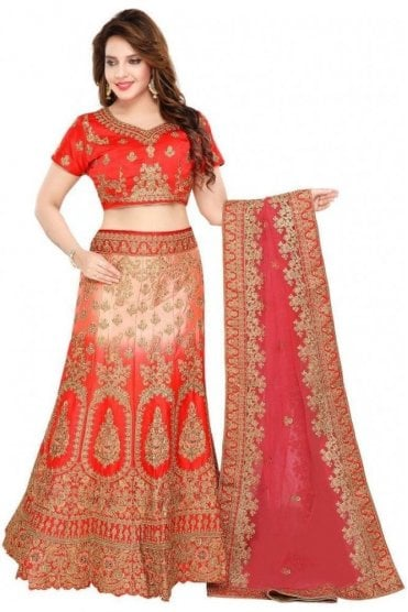 WBL19012 Beautiful  Red and Peach Bridal / Party Wear Lengha (Semi- Stitched)