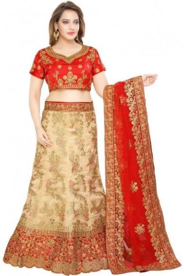 WBL19035 Stunning Gold and Maroon Bridal / Party Wear Lengha (Semi- Stitched)