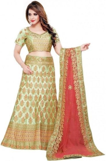 WBL19085 Stylish Mint Green and Pink  Bridal / Party Wear Lengha (Semi- Stitched)