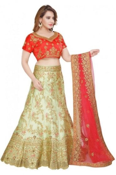 WBL19094 Gorgeous  Green and Red  Bridal / Party Wear Lengha (Semi- Stitched)