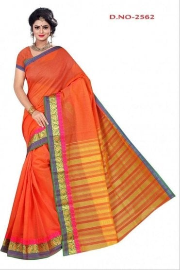Timeless Peach and Gold Cotton Silk Saree with Matching Unstitched Blouse