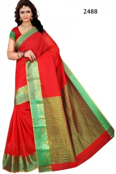 Elegant Red and Green Cotton Silk Saree with Matching Unstitched Blouse